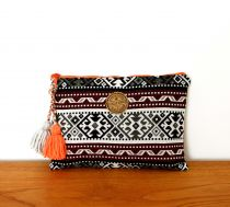 bordo kilim desenli clutch