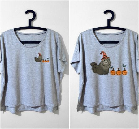 """Siberian"" TRICK OR TREAT Gri Tshirt"
