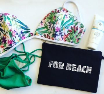 For Beach / Siyah Keten Clutch