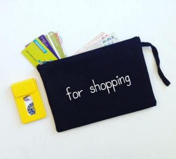 For Shopping / Siyah Keten Clutch