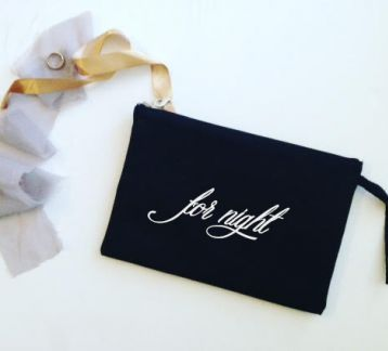 For Night / Siyah Keten Clutch