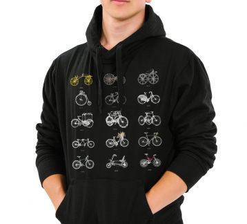 Evolution of Bicycles Erkek Hoodie