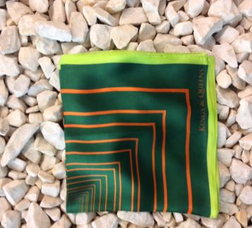 Green Offset  Silk Scarf