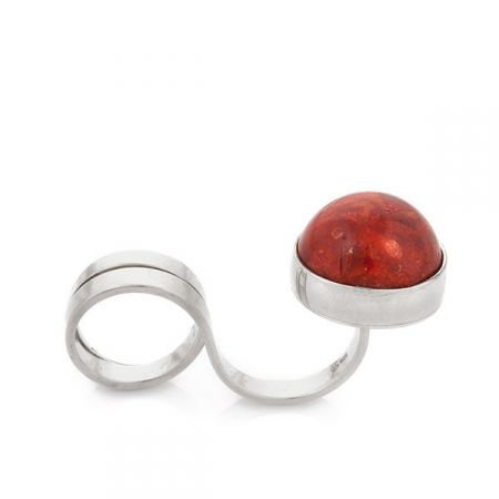 Red Sun Double Finger Rings