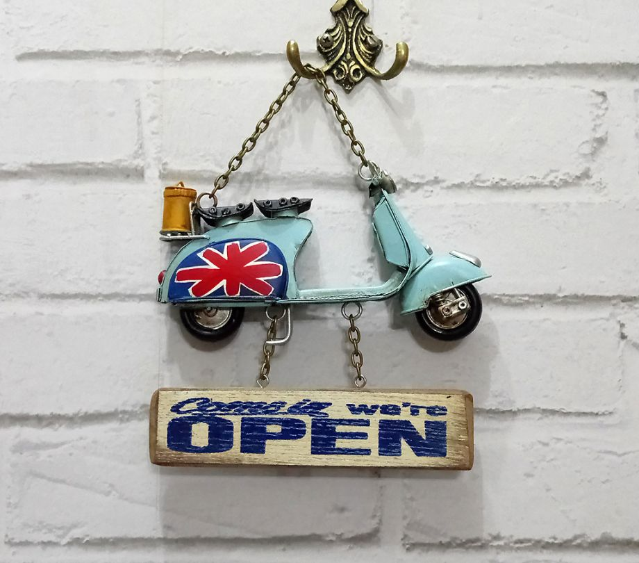 Askılı Vespa Motor Metal Open-Closed Pano-21cm