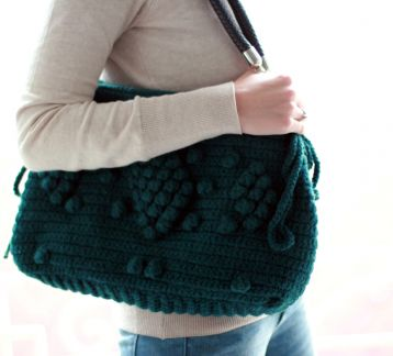 El Örgüsü Çanta-Handmade Green Knit Bag, Celebrity Style,Crochet winter