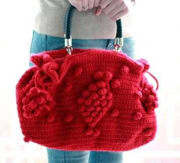 El Yapımı Örgü Çanta- Handmade Red Knit Bag, Celebrity Style,Crochet winter