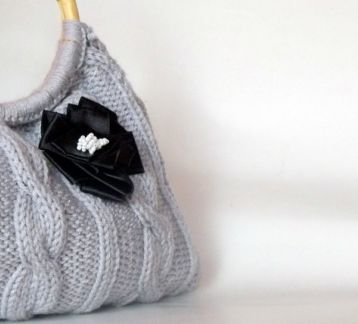 Gri örgü omuz  çanta--Crocheted Grey Bag , Every Day Bag, Great gift-weekender bag