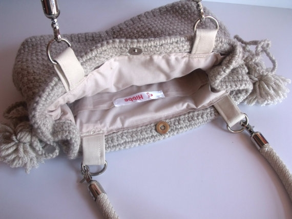 El Yapımı Örgü Çanta- Handmade Beige Knit Bag, Celebrity Style,Crochet summer bag,satchel, fashion