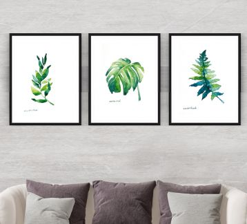 Leaf Suluboya Digital Baskı Resim 3' lü Set. Botanical Art