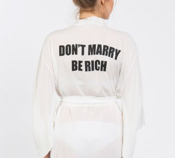 Don'T Marry Be Rich Baskılı Kimono