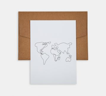 Line Drawings 13x18 - World Map