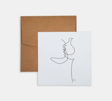 Line Drawings 15x15 - Kissing Couple