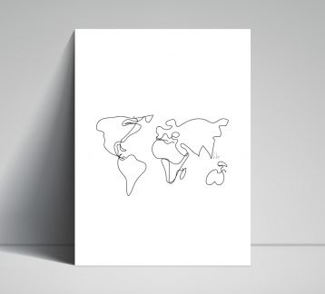 Line Drawings 30x40 - World Map