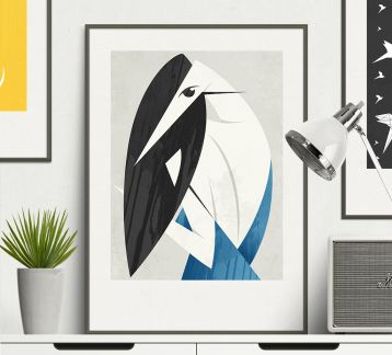 Bird and Woman - Modern Art Poster 420x594mm (A2)