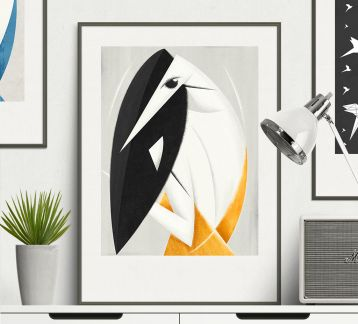 Bird and Woman - Modern Art Poster 330x490mm