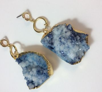 Just blue druzy agate stone earrings