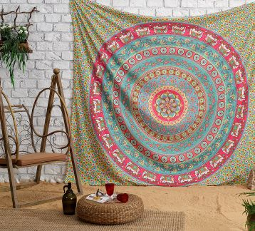 AMARILLO  MANDALA TAPESTRY & PILLOW SET