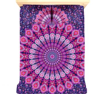 FUCSHIA MANDALA TAPESTRY & PILLOW SET