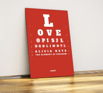 Love is blind - Dekoratif Metal Poster
