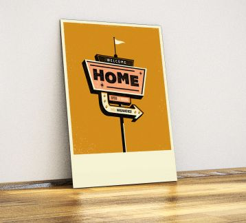 Welcome Home - Dekoratif Metal Poster