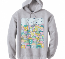 Rootless City in the Daytime- Unisex Gri Kapşonlu Sweatshirt