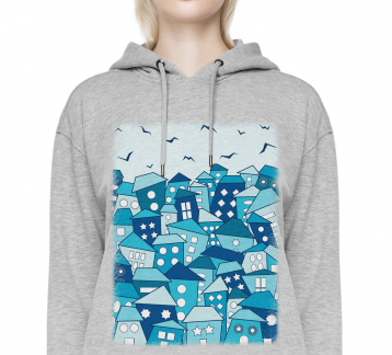Rootless City at Night - Unisex Gri Kapşonlu Sweatshirt