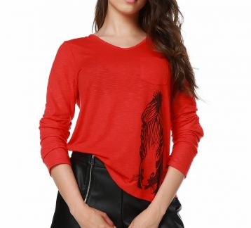 Mumu Zebra Women Red Blouse