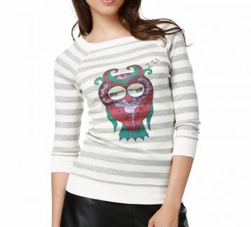 Mumu Sleeping Owl Crop Top Women Blouse