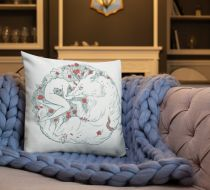 Mumu Woman and Wolf Throw Pillow