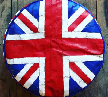 UK-FLAG TASARIM DERİ PUF