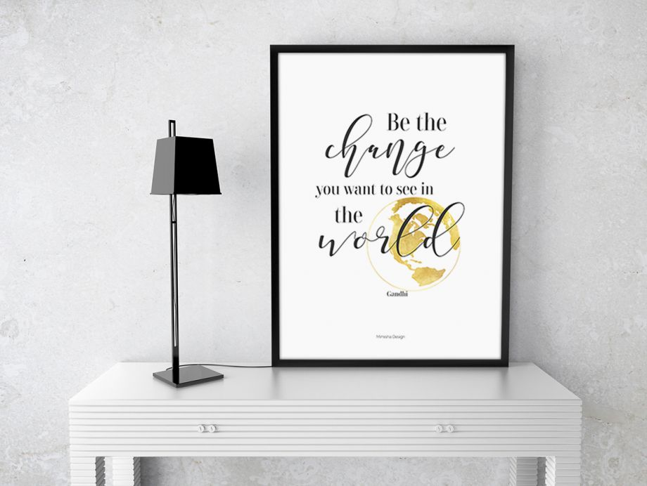 50cm/70cm Çerçeveli 'Be The Change' Poster