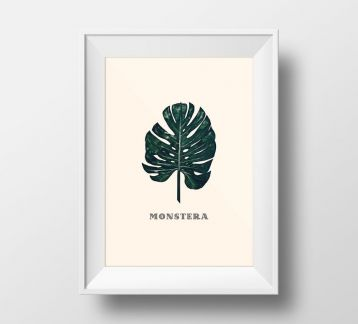 GREEN MONSTERA POSTER 50X70 cm