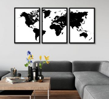 World Map - Çerçeveli Poster Set