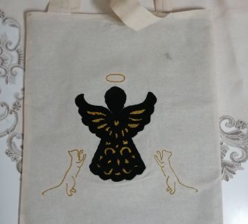 Kedili Melek Çanta, tote bag, punch needle, nakis